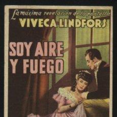 Cine: P-2774- SOY AIRE Y FUEGO (JAG ÄR ELD OCH LUFT) (ODEON CINEMA - CANET DE MAR) VIVECA LINDFORS. Lote 288201963