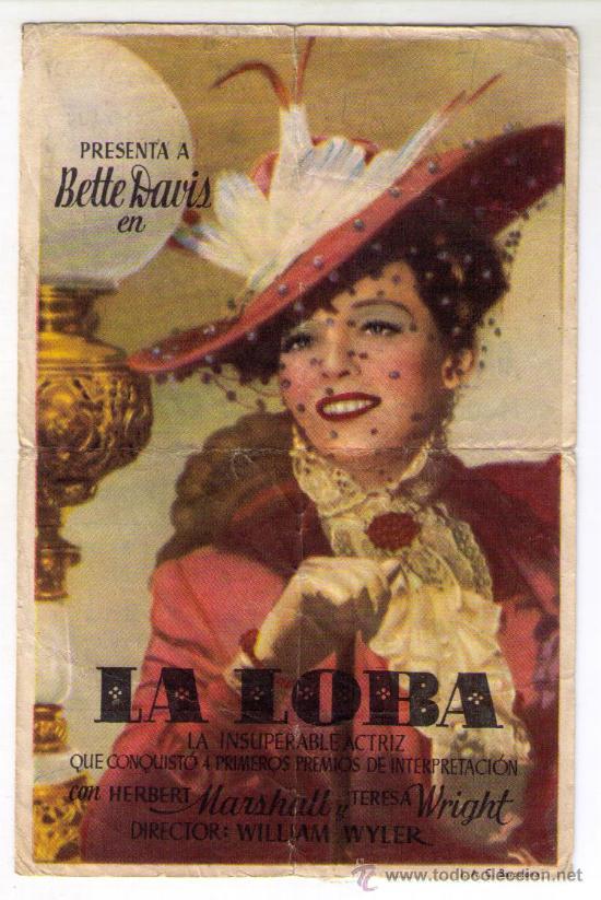 LA LOBA - BETTE DAVIS - AÑO 1941 - PUBLICIDAD EN PALACIO CINENA DE ALBUIXECH (Cine - Folletos de Mano - Comedia)