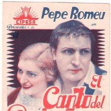 Cine: EL CANTO DEL RUISEÑOR PROGRAMA TARJETA CIFESA CINE ESPAÑOL PEPE ROMEU CHARITO LEONIS GAYARRE. Lote 27537010