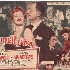 Cine: UN PASO EN FALSO / UN MAL PASO PROGRAMA SENCILLO UNIVERSAL WILLIAM POWELL SHELLEY WINTERS RARO. Lote 27537350