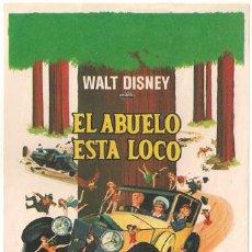 Cine: EL ABUELO ESTA LOCO PROGRAMA SENCILLO FILMAYER WALTER BRENNAN WALT DISNEY ROLLS ROYCE. Lote 27622568
