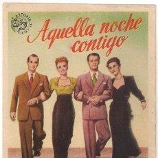 Cine: AQUELLA NOCHE CONTIGO PROGRAMA SENCILLO ASTORIA VERTICAL TONE SUSANNA FOSTER BUSTER KEATON. Lote 27625896