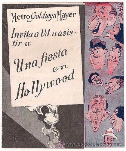 UNA FIESTA EN HOLLYWOOD PROGRAMA DOBLE MGM STAN LAUREL OLIVER HARDY JIMMY DURANTE (Cine - Folletos de Mano - Comedia)
