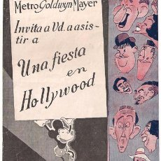 Cine: UNA FIESTA EN HOLLYWOOD PROGRAMA DOBLE MGM STAN LAUREL OLIVER HARDY JIMMY DURANTE. Lote 27646479