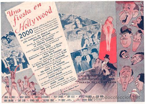 Cine: UNA FIESTA EN HOLLYWOOD PROGRAMA DOBLE MGM STAN LAUREL OLIVER HARDY JIMMY DURANTE - Foto 2 - 27646479