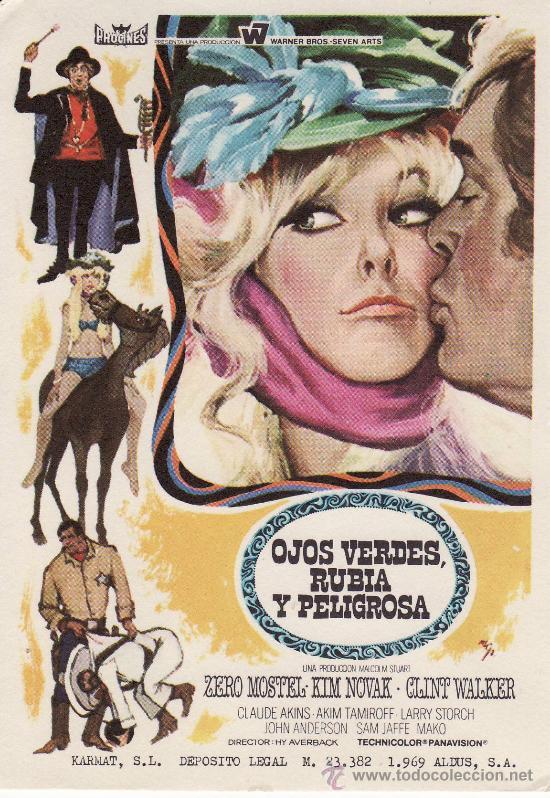 OJOS VERDES, RUBIA Y PELIGROSA. PROGRAMAS DE MANO, POSTALES Y MAS EN RASTRILLOPORTOBELLO (Cine - Folletos de Mano - Suspense)