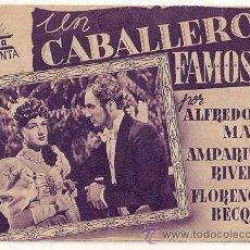 Cine: UN CABALLERO FAMOSO PROGRAMA DOBLE CIFESA VIOLETA CINE ESPAÑOL AMPARO RIVELLES ALFREDO MAYO B. Lote 27743654