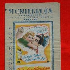 Cine: BODAS BLANCAS, RARO FOLLETO LOCAL REUS, 1946 FORMATO TRIPTICO CINE MONTERROSA. Lote 27831288