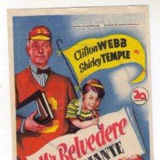Cine: MR. BELVEDERE ESTUDIANTE - CLIFTON WEBB - 1.949 - PUBLICIDAD EN CINE GADES. Lote 27871154