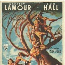Cinema: PROGRAMA DE MANO DE LA PELICULA HURACAN SOBRE LA ISLA CON DOROTHY LAMOUR. Lote 28049535