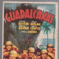 Cine: GUADALCANAL. SOLIGÓ. SENCILLO DE 20TH CENTURY FOX. TEATRO VILLAMARTA 1945.. Lote 28120681