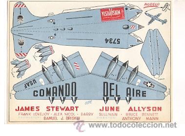 COMANDO DEL AIRE PROGRAMA DE MANO ORIGINAL JAMES STEWART RECORTABLE (Cine - Folletos de Mano - Aventura)