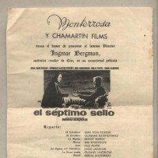 Cine: CINE MONTERROSA REUS Y CHAMARTIN FILMS PRESENTAN EL SÉPTIMO SELLO. INGMAR BERGMAN.. Lote 28194389