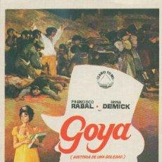 Cine: GOYA (HISTORIA DE UNA SOLEDAD). Lote 28292846