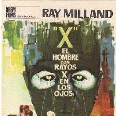 Cine: X, EL HOMBRE CON RAYOS X EN LOS OJOS. 1963- RAY MILLAN, DIANA VAN DER VLIS. Lote 114396518