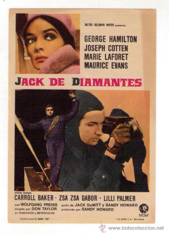 JACK DE DIAMANTES - GEORGE HAMILTON - AÑO 1967 - SIN PUBLICIDAD (Cine - Folletos de Mano - Acción)
