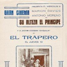 Cine: SU ALTEZA EL PRÍNCIPE - EL TRAPERO. ANTONIO MORENO - J. COOGAN. 1924. Lote 28385543