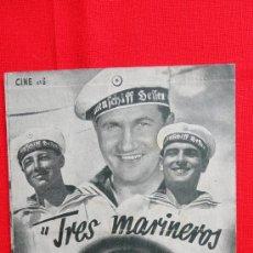 Cine: TRES MARINEROS Y UNA RUBIA, DOBLE, CHARLOTE ANDER, HEINZ RUHMANN, 1939, CON PUBLI FORTUNY REUS. Lote 28417141