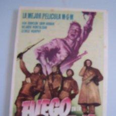 Cine: FUEGO EN LA NIEVE METRO FOLLETO DE MANO ORIGINAL DEL ESTRENO VAN JOHNSON JOHN HODIAK WILLAM WELLMAN. Lote 28429624