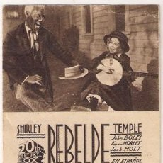 Cine: REBELDE PROGRAMA TARJETA 20TH CENTURY FOX SHIRLEY TEMPLE D1. Lote 28446139