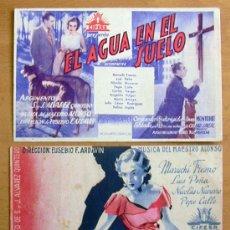 Cine: EL AGUA EN EL SUELO - DOS PROGRAMAS DIFERENTES - CON PUBLICIDAD. Lote 28465016