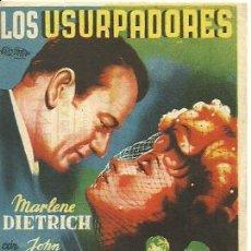Foglietti di film di film antichi di cinema: PROGRAMA DE MANO DE LA PELICULA LOS USURPADORES CON MARLENE DIETRICH. Lote 28485378