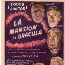 Cine: LA MANSION DE DRACULA- SENCILLO - MUY RARO. Lote 28554638