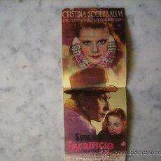Cine: FOLLETO DE CINE,SUBLIME SACRIFICIO,PUBLICIDAD AL DORSO.CINE REX. Lote 28673763