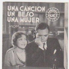Cine: UNA CANCIÓN,UN BESO,UNA MUJER.TRÍPTICO DE EXCLUSIVAS HUET.. Lote 28690228