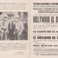 Cine: HOLLIWOOD AL DESNUDO Y EL DOMADOR DE POTROS.PROGRAMA LOCAL.TEATRO GUIMERÁ Y PICAROL CINEMA 1933. Lote 28693245