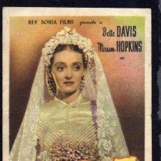Cine: LA SOLTERONA - BETTE DAVIS - MIRIAM HOPKINNS - CON PUBLICIDAD.. Lote 28700277