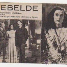 Cine: EL REBELDE. TARJETA FICHA DE AGUILA FILMS.. Lote 28702994
