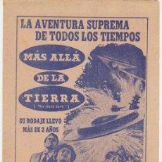 Cine: MÁS ALLÁ DE LA TIERRA. DOBLE DE UNIVERSAL INTERNACIONAL. TEATRO CUBA - LA HABANA.. Lote 28730468