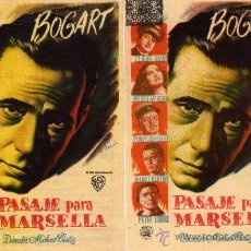 Cine: VARIACION - DOS PROGRAMAS - PASAJE PARA MARSELLA - HUMPHREY BOGART -P ETER LORRE - CAPITOLIO - RAMON. Lote 114291818