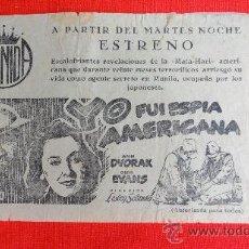 Cine: YO FUI ESPIA AMERICANA, ANN DVORAK, LOCAL ORIGINAL HISPAMEX CINE AVENIDA REUS. Lote 28904967