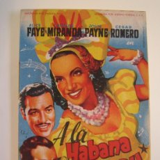 Folhetos de mão de filmes antigos de cinema: A LA HABANA ME VOY CARMEN MIRANDA SOLIGO FOX - FOLLETO DE MANO ORIGINAL DEL ESTRENO. Lote 28952233