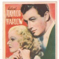 Cine: JUGANDO A LA MISMA CARTA PROGRAMA TARJETA MGM JEAN HARLOW ROBERT TAYLOR. Lote 28969623