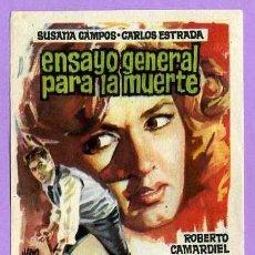 Cine: ENSAYO GENERAL PARA LA MUERTE + FOLLETOS DE MANO ORIGINAL + FOLLETOS Y MUCHO + EN MI TIENDA. Lote 81001690