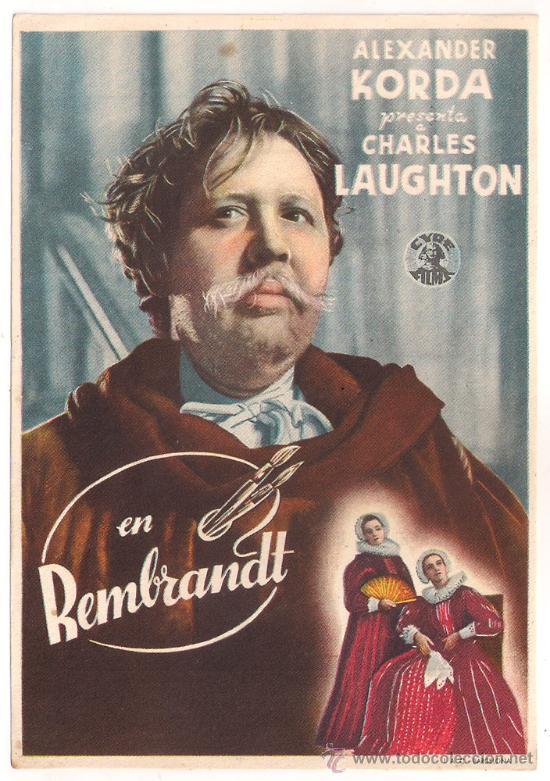 REMBRANDT PROGRAMA SENCILLO CIRE CHARLES LAUGHTON ALEXANDER KORDA B (Cine - Folletos de Mano - Drama)