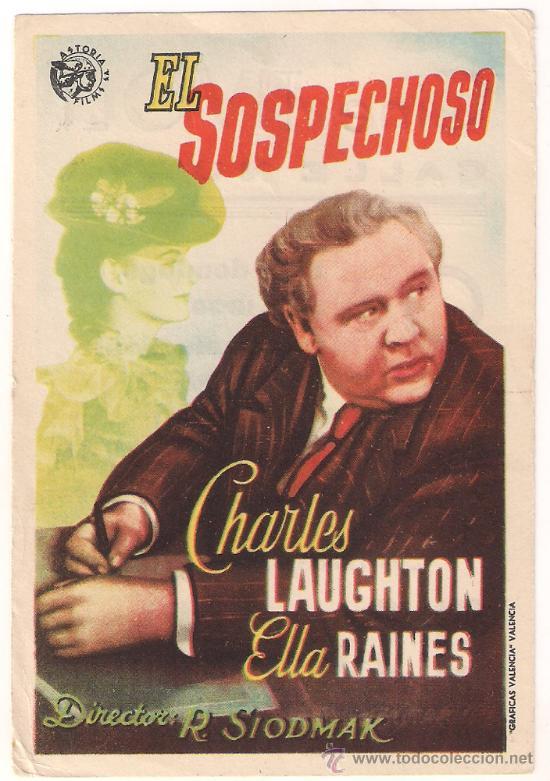 EL SOSPECHOSO PROGRAMA SENCILLO ASTORIA CHARLES LAUGHTON ELLA RAINES (Cine - Folletos de Mano - Drama)
