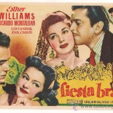 Cine: FIESTA BRAVA PROGRAMA SENCILLO MGM ESTHER WILLIAMS CYD CHARISSE LETRAS ROJAS. Lote 28986972