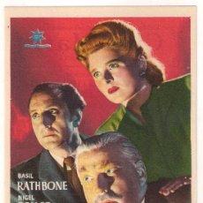 Folhetos de mão de filmes antigos de cinema: PERLA MALDITA PROGRAMA SENCILLO ESTRELLA AZUL BASIL RATHBONE NIGEL BRUCE EVELYN ANKERS. Lote 28987426