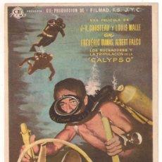 Cine: EL MUNDO DEL SILENCIO PROGRAMA SENCILLO CB FILMS JACQUES YVES COUSTEAU SUBMARINISMO. Lote 29033870