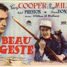 Cine: BEAU GESTE (CON PUBLICIDAD). Lote 29044122