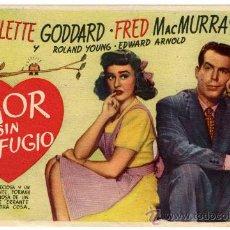 Cine: PROGRAMA CINE - AMOR SIN REFUGIO - PAULETTE GODDARD - FRED MACMURRAY - ROLAND YOUNG. Lote 29147717