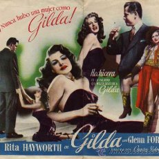 Cine: PROGRAMA DE CINE. GILDA. DOBLE CON PUBLICIDAD. RITA HAYWORTH. CON GLENN FORD. TORRENTE VALENCIA.. Lote 29147826