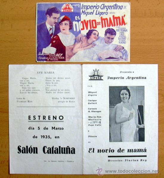 EL NOVIO DE MAMA - AÑO 1934 PROTAGONIZADA POR IMPERIO ARGENTINA Y MIGUEL LIGERO - CON PUBLICIDAD (Cine - Folletos de Mano - Clásico Español)