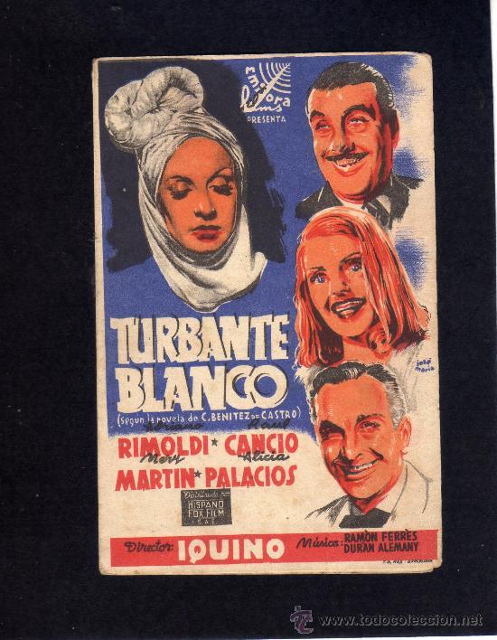 TURBANTE BLANCO - ADRIANO RIMOLDI - RAUL CANCIO - PROGRAMA DOBLE - CON PUBLICIDAD. (Cine - Folletos de Mano - Comedia)