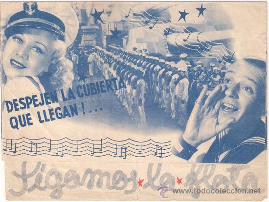 SIGAMOS LA FLOTA PROGRAMA DOBLE GRANDE RKO FRED ASTAIRE GINGER ROGERS (Cine - Folletos de Mano - Musicales)
