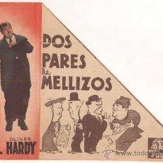 Cine: DOS PARES DE MELLIZOS PROGRAMA DOBLE TROQUELADO MGM STAN LAUREL OLIVER HARDY. Lote 29202263